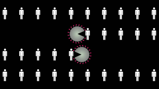 coronavirus eating humans. animation with alpha channel. - social distancing stock videos & royalty-free footage