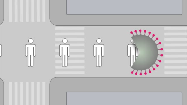 coronavirus eating humans on the street. loopable animation. - social distancing stock videos & royalty-free footage