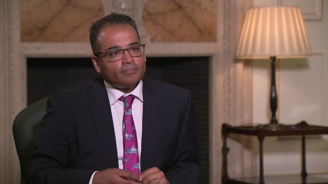 economic downturn 'less severe than feared', bank of england says; england: london: int andrew bailey interview sot - re: economic downturn and bank... - krishnan guru murthy stock videos & royalty-free footage