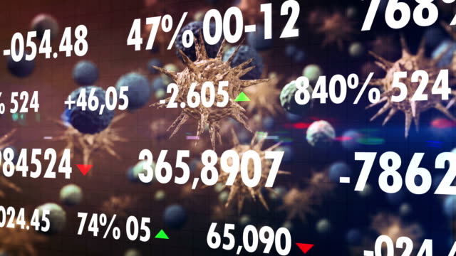 coronavirus economic impact, down trend financial graph on ncov corona virus microscope image - economia video stock e b–roll