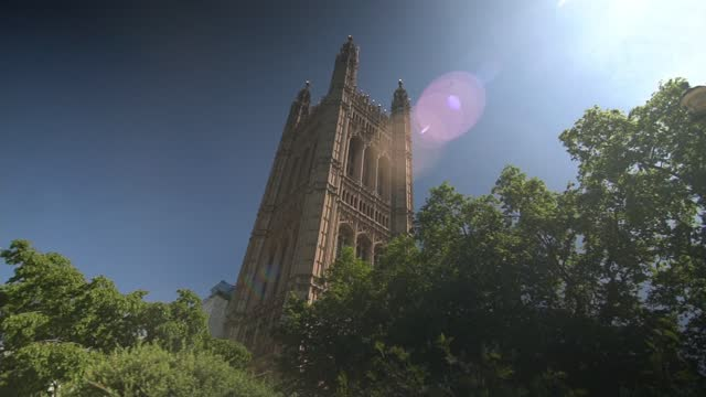 england lockdown exit delayed by four weeks as covid cases rise; england: london: westminster: ext low angle view victoria tower - victoria tower stock videos & royalty-free footage