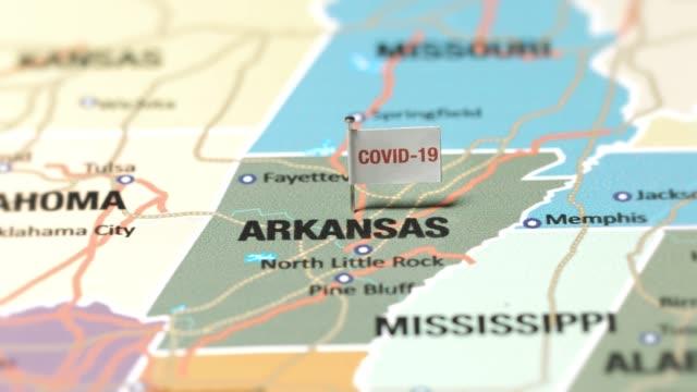 アーカンソー州のコロナウイルス旗 - アーカンソー州点の映像素材/bロール