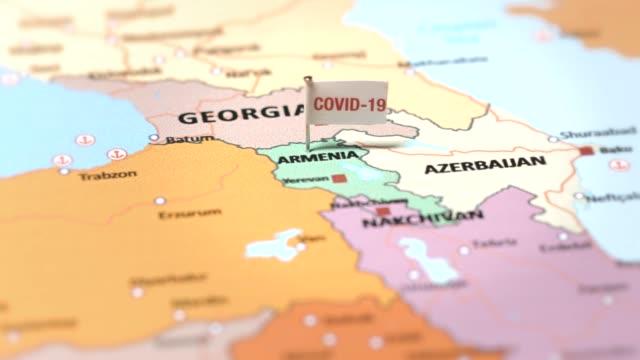 coronavirus flag on armenia - eastern european culture stock videos & royalty-free footage