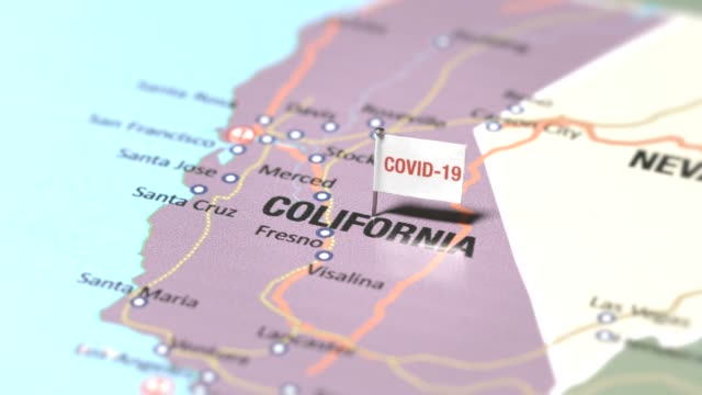 coronavirus flag on colifornia - pinning stock videos & royalty-free footage