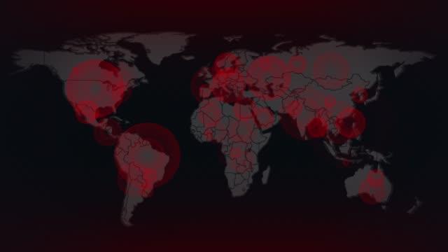 coronavirus global spread map 4k stock video - computer crime stock videos & royalty-free footage