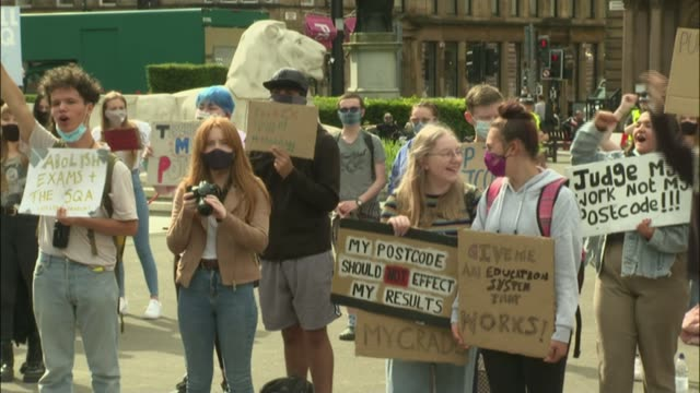 government defends lastminute changes to alevel and gcse exams grading system scotland ext various protesters holding placards as chanting sot - politics stock videos & royalty-free footage
