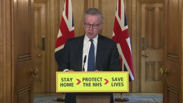 government faces pressure over testing england london westminster downing street int michael gove mp press conference sot a critical constraint on... - politics stock videos & royalty-free footage