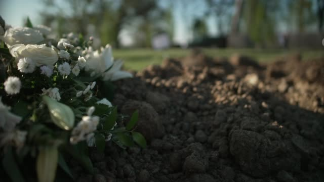 government launches review into high proportion of deaths from bame communities england london greenacre cemetery ext various of new graves in... - tomba luogo di sepoltura video stock e b–roll