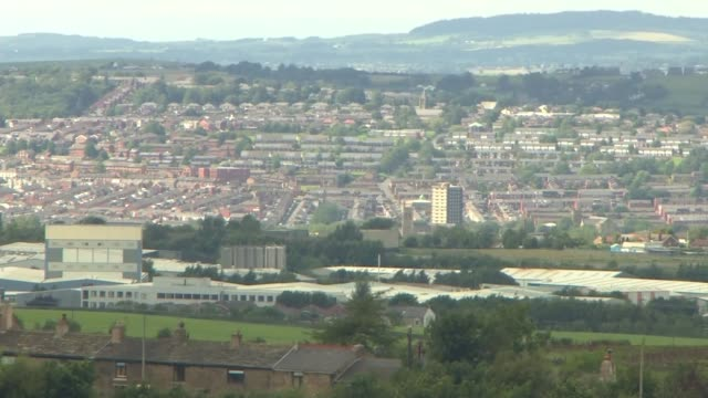 government prepared to take 'decisive action' if covid19 cases continue to rise england lancashire blackburn ext long shot of blackburn skyline pan - lancashire stock videos & royalty-free footage