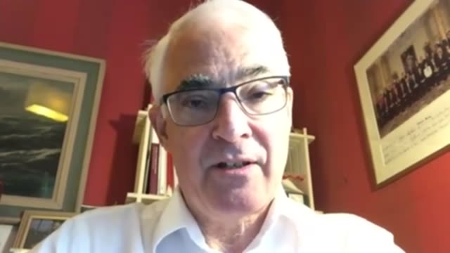 government says boris johnson's condition is improving england int lord darling interview via internet sot london milbank reporter watching darling... - alistair darling stock videos & royalty-free footage