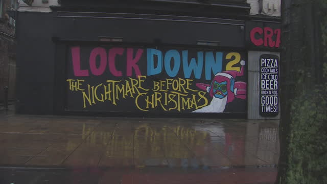 coronavirus graffiti in manchester saying lockdown 2 the nightmare before christmas - fear stock videos & royalty-free footage
