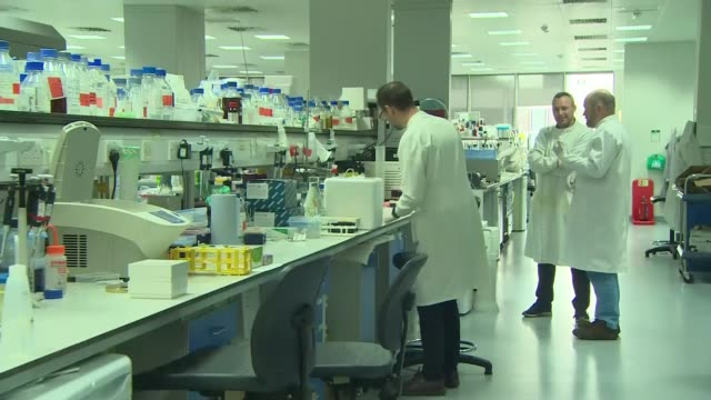 gvs of liverpool antibody testing research centre; england: liverpool: int side view laboratory technicians standing at work stations handling... - b rolle stock-videos und b-roll-filmmaterial