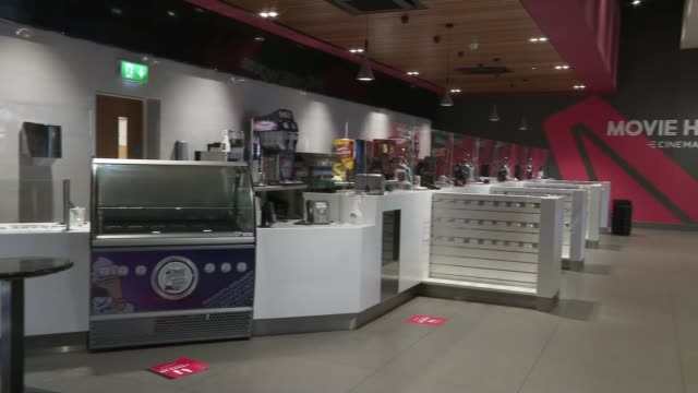 gyms playgrounds and cinemas reopen in northern ireland northern cinema entrance doors off corridor in movie house cinemas complex movie house cinema... - lobby stock videos & royalty-free footage
