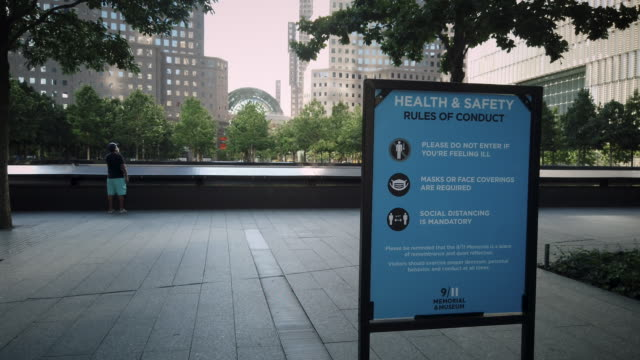 coronavirus health and conduct rules of safety sign in lower manhattan's september 11 world trade center memorial area please do not enter if you're... - home showcase interior stock videos & royalty-free footage