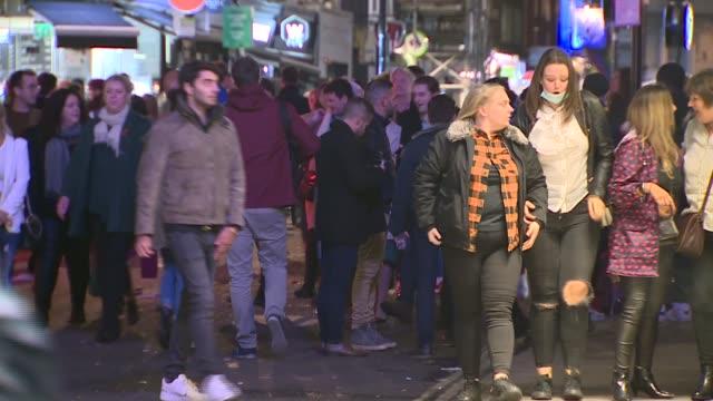health secretary matt hancock denies breaking 10pm drinking curfew in commons bar; england: london: soho: ext / night various shots of crowd of... - drinking stock videos & royalty-free footage