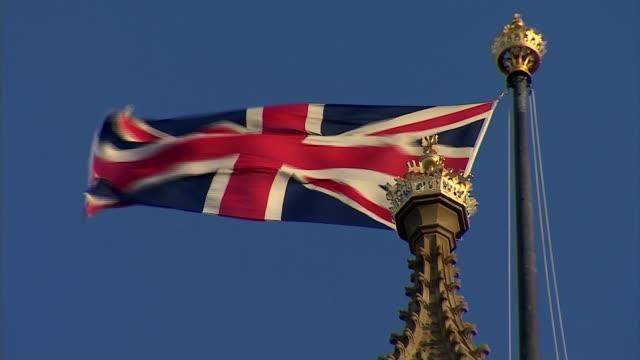 health secretary matt hancock denies breaking 10pm drinking curfew in commons bar; england: london: westminster: ext / dusk various shots of palace... - union jack stock videos & royalty-free footage