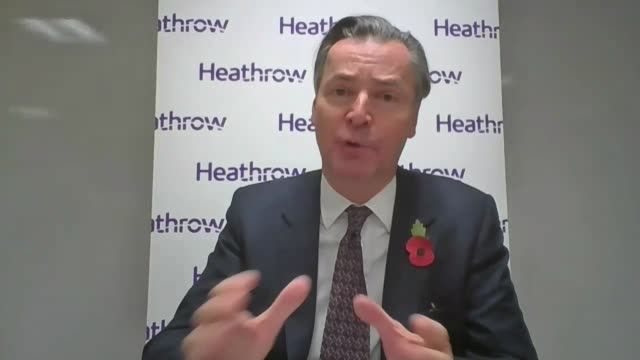 heathrow airport asks for more government support; england: london: int john holland-kaye interview via the internet sot - itv london lunchtime news stock videos & royalty-free footage