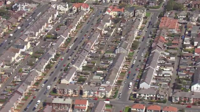 heatwave: north of england aerials; england: blackpool: ext air views blackpool tower and seafront below zoom in comedy carpet and paving 'nice to... - suburban stock videos & royalty-free footage