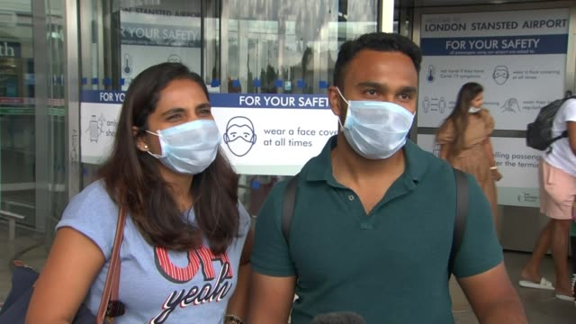 holidaymakers returning from croatia the latest instructed to quarantine for two weeks; england: ext vox pops passengers outside airport sot - tourist stock videos & royalty-free footage