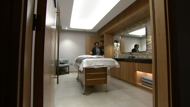 hospitality firms fear for future as three quarters of england under toughest covid rules; england: cheshire: the spa at carden ext sun loungers sun... - dust stock videos & royalty-free footage