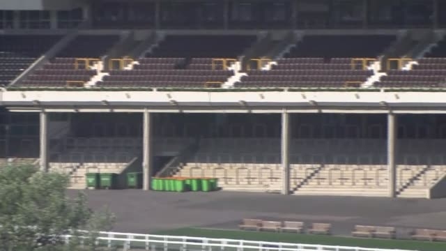 how did we get here?: how the government's big decisions were made; england: gloucestershire: cheltenham racecourse: ext gv empty spectators' stands... - ルワンダ点の映像素材/bロール