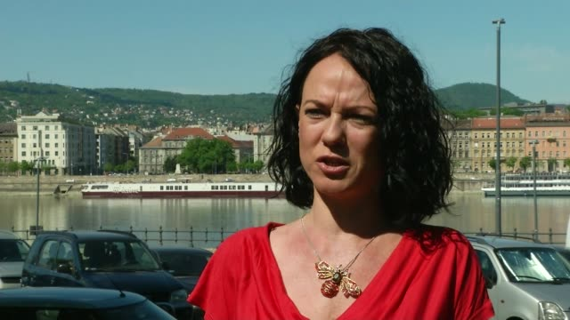 vidéos et rushes de hungary's viktor orban criticised for emergency decree; hungary: budapest: ext timea szabo interview sot car with hungarian flag along and honking... - hongrie