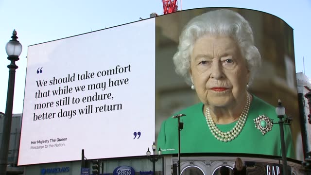 image of the queen and speech extract displayed at piccadilly circus; england: london: piccadilly circus: ext huge advertising screens as photograph... - königin stock-videos und b-roll-filmmaterial