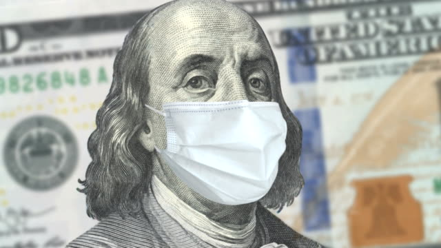 covid-19 coronavirus in usa, 100 dollar money bill with face mask - american one hundred dollar bill stock videos & royalty-free footage