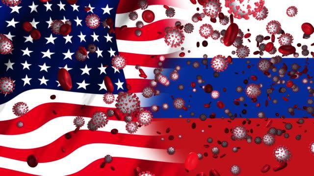 coronavirus in usa and russia - politics illustration stock videos & royalty-free footage