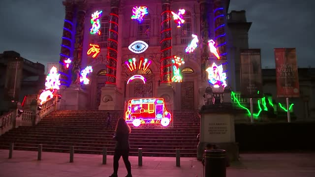 india celebrates diwali virtually england london various shots of tate britain museum lit up with indian mythology/bollywood themed lights - south asia stock videos & royalty-free footage