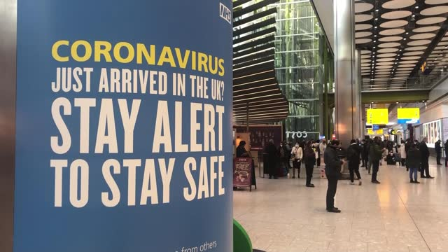 stockvideo's en b-roll-footage met infections may be levelling off / travel corridors closed to prevent entry of new strains of covid-19; england: london: heathrow: ext low angle view... - new not politics