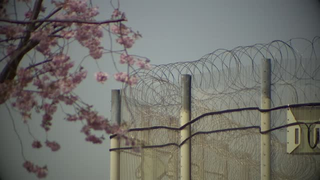 inmates' mental health damaged by prison lockdowns; england: nottinghamshire: nottingham: hmp nottingham : gv flag 'hm prison service' gv barbed wire... - prison stock videos & royalty-free footage