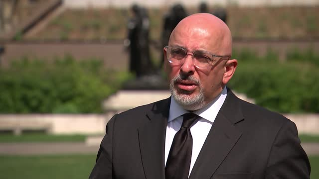 interview with vaccines minister nadhim zahawi; england: london: westminster: ext nadhim zahawi mp interview sot. q - this announcement today, what's... - politics video stock e b–roll