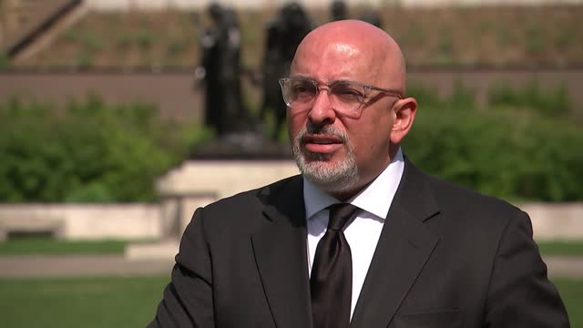 interview with vaccines minister nadhim zahawi; england: london: westminster: ext nadhim zahawi mp interview sot. q - how far does this go? could you... - politics video stock e b–roll