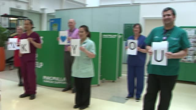 itv and nhs launch million claps appeal england london chelsea westminster hospital int woman making speech at itv and nhs 'million claps appeal'... - thank you englischer satz stock-videos und b-roll-filmmaterial