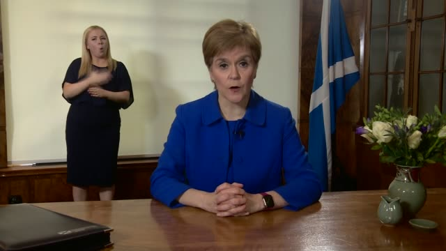 news special: boris johnson addresses the nation; scotland: edinburgh: int nicola sturgeon msp statement sot - i know that today must feel like a... - orthographic symbol stock videos & royalty-free footage