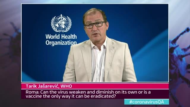 news special: coronavirus q and a; england: london: gir: int presenter to camera tarik jasarevic 2 way interview via internet sot - healthcare and medicine stock videos & royalty-free footage