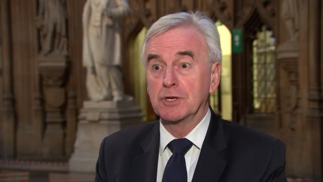 john mcdonnell interview england london westminster palace of westminster commons central lobby int john mcdonnell mp interview sot on whether he is... - john mcdonnell politician videos stock videos & royalty-free footage