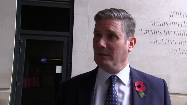 keir starmer doorstep interview; england: london: bbc new broadcasting house: ext sir keir starmer mp leaving andrew marr show / doorstep interview... - keir starmer stock videos & royalty-free footage