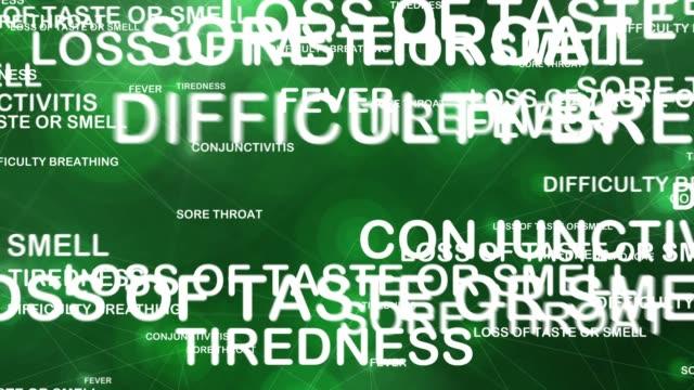vidéos et rushes de lettres et symptômes du coronavirus volant dans l'espace numérique - vaisseau sanguin