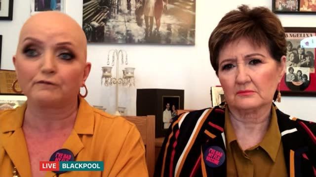 linda and denise nolan calling on people to get flu jab england london gir int linda and denise nolan live 2way interview from blackpool sot - itv lunchtime news stock videos & royalty-free footage