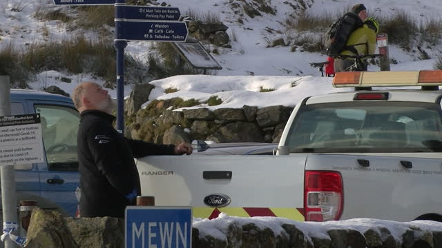 coronavirus lockdown enforced in snowdonia as police patrol the area, car parks are closed and hikers turned away - snowdonia stock videos & royalty-free footage