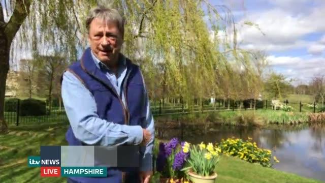 gardener alan titchmarsh interview; england: london: gir: int alan titchmarsh 2 way interview from his garden in hampshire sot - alan titchmarsh stock videos & royalty-free footage