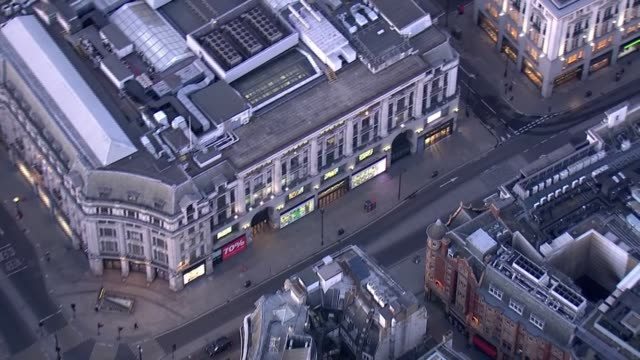 london aerials during lockdown; england: london: ext air view shots of oxford circus / tottenham court road / various roads in central london. - tottenham court road stock videos & royalty-free footage
