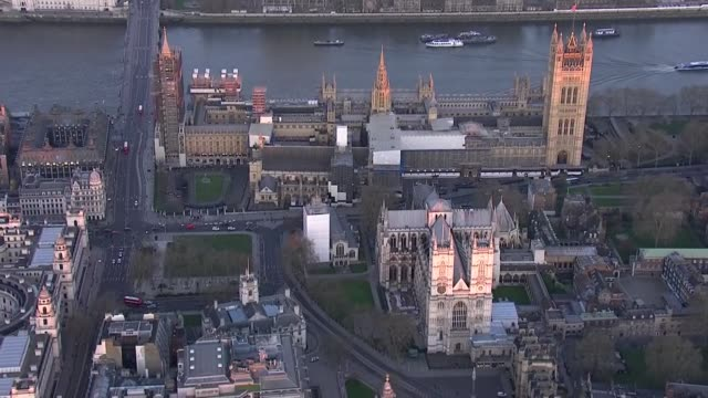 london aerials during lockdown; england: london: ext air view shots of london eye / westminster abbey and houses of parliament / parliament square /... - houses of parliament london stock videos & royalty-free footage