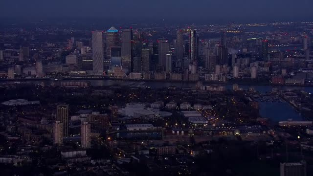 london aerials during lockdown england london shots of canary wharf and canada square / canada water / across london with sunset on horizon - horizon stock videos & royalty-free footage