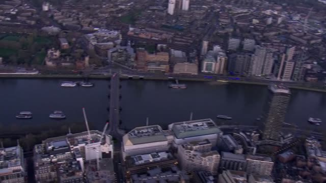 london aerials during lockdown england london shots including across london with sunset on horizon / waterloo the london eye and hungerford bridge /... - horizon stock videos & royalty-free footage
