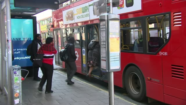 london bus users no longer have to tap in and will only be able to board or leave using middle doors england london int peter kavanagh interview via... - cellophane stock videos & royalty-free footage