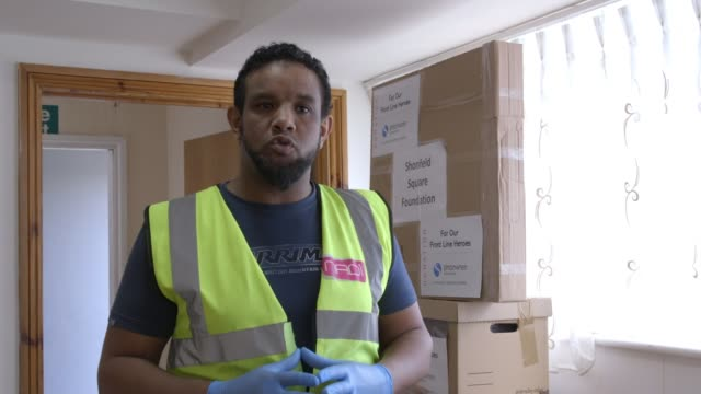 london mosques join effort to supply ppe uk london boxes of ppe being packed and loaded into van interview with chief executive of nadi park royal... - variation stock videos & royalty-free footage