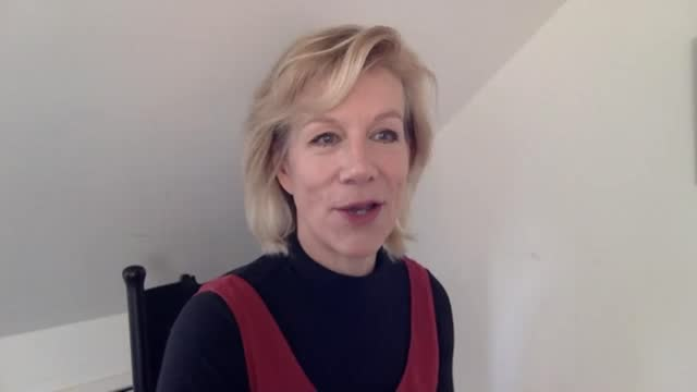 london's refugee key workers celebrated in online exhibition by celebrity photographer rankin; england: london: int reporter asking question juliet... - juliet stevenson stock videos & royalty-free footage